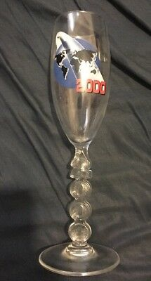 Y2K New Years Party Champagne Glass 2000 Stemware Nos