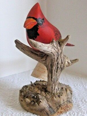 Red Cardinal Hand Carved - Painted & signed with notation