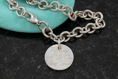 """Tiffany & Co. Silver Notes Round Wavy Small Circle Disc 7.5"""" Bracelet with Pouch"""
