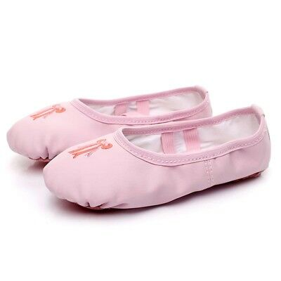 Toddler Girls Kids PU Leather Ballet Dance Split-Sole Slipper Shoes Gymnastics