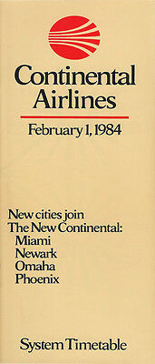 Continental Airlines system timetable 2/1/84 [308CO] Buy 2 Get 1 Free
