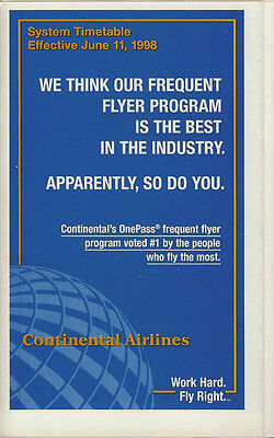 Continental Airlines system timetable 6/11/98 [308CO] Buy 2 Get 1 Free