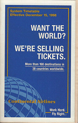 Continental Airlines system timetable 12/15/98 [308CO] Buy 2 Get 1 Free