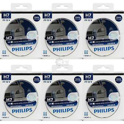 6x Philips WhiteVision 2x H7 12V 55W PX26d + W5W xenon effect Birne