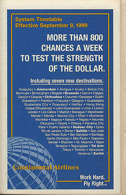 Continental Airlines system timetable 9/9/99 [308CO] Buy 2 Get 1 Free