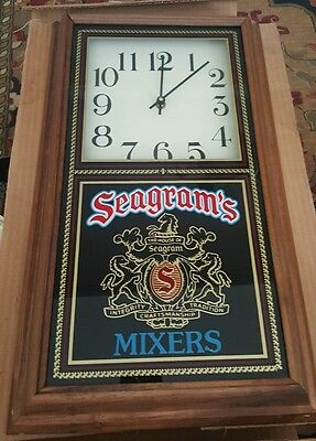 Vintage Seagram's Mixers Wood Wall Clock NEW IN BOX
