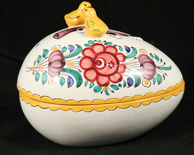 Vintage Czechoslovakia Ceramic Egg Shape Container/Trinket Holder Collectible