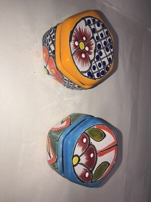 MEXICAN FOLK ART TALAVERA Pottery 6 sided Trinket Box~ HAND PAINTED (Choose ONE)