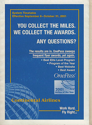 Continental Airlines system timetable 9/6/01 [308CO] Buy 2 Get 1 Free