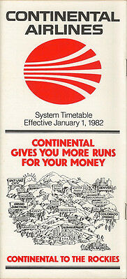 Continental Airlines system timetable 1/1/82 [308CO] Buy 2 Get 1 Free