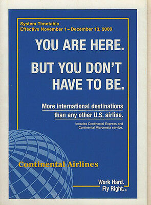 Continental Airlines system timetable 11/1/00 [308CO] Buy 2 Get 1 Free
