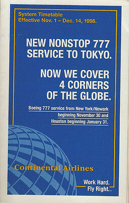 Continental Airlines system timetable 11/1/98 [308CO] Buy 2 Get 1 Free