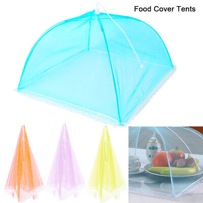 4 x Protective Food Cake BBQ Covers Insect Folding Mesh Umbrella Tents  40x40cm