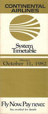 Continental Airlines system timetable 10/31/82 [308CO] Buy 2 Get 1 Free