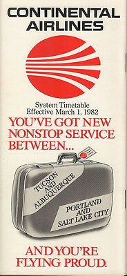 Continental Airlines system timetable 3/1/82 [308CO] Buy 2 Get 1 Free