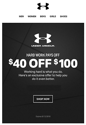 suerte Patético Glamour  Want to buy > under armour coupons 40 off 100, Up to 71% OFF