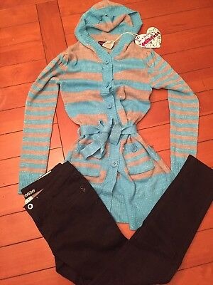 Lot 2~NEW NWTdollhouse Turquoise/Grey Sweater (Girls 14) & Size 14 Black Pants
