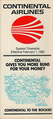 Continental Airlines system timetable 2/1/82 [308CO] Buy 2 Get 1 Free