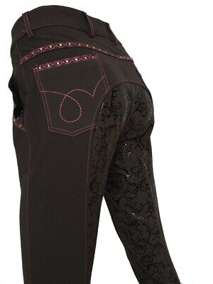Ladies Grey Full Seat Silicone Grip Breeches  Sizes 8-22 small sizing