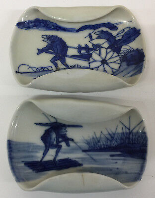 A Pair of   Chinese Shallow Dishes Antique Blue White Frog Styalised