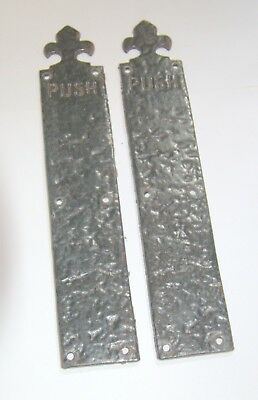 """Pair of old reclaimed cast/wrought iron gothic door finger plates """"PUSH"""""""