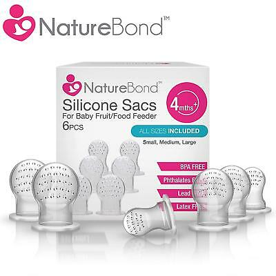 NatureBond Silicone Sac x 6 For Baby Food / Fruit Feeder (ALL SIZES) ** SALES **