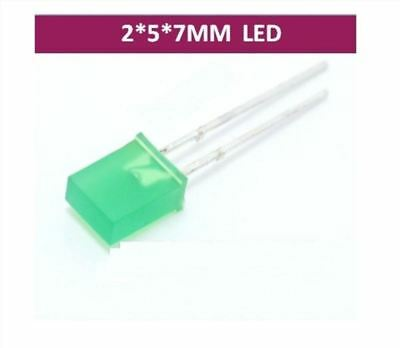 100PCS 2x5x7mm Rectangle LED Green Colou Green Light Emitting Diode Good quality