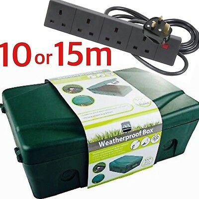 Outdoor 4 Socket 10m 15m Extension Lead Electrical Enclosure Weatherproof Box