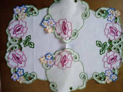 Gorgeous Pink Roses & Florals 3 piece  ~ Vintage Hand embroidered Duchess set