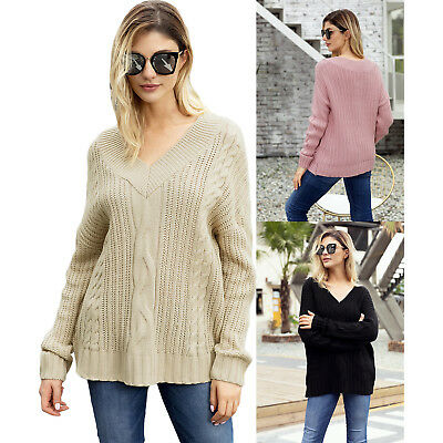 Cable knit v neck sweater womens cute winter solid v-neck full sleeve regular