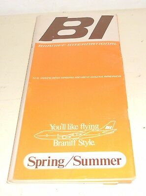 Vintage BI Braniff International Airlines Spring Summer Jet Schedule Flights