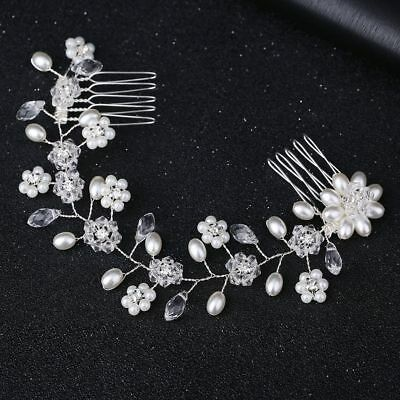 Women Crystal Pearl Flower Hair Comb Hairclip Hairband Bridal Wedding Jewelry