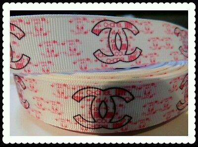 """*Pink and White* Quality 7/8"""" 22mm Grosgrain Ribbon"""