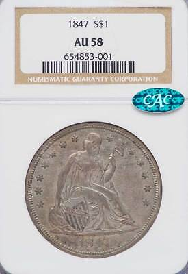 1847 Liberty Seated $1.00 Silver Dollar AU-58 NGC - CAC APPROVED FOR QUALITY A+