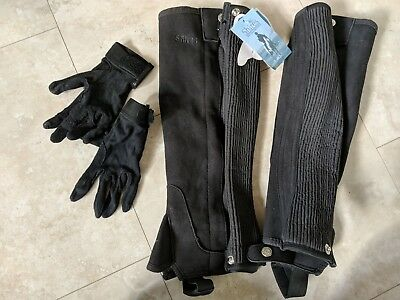 New Shires Adults Amara Suede Half Chaps black size Large L plus gloves size M