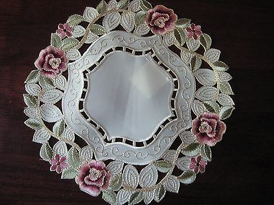 """Doily 11""""  round Rose flower decor  embroidered lace embroidery"""