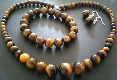 Gorgeous Natural Genuine Tiger Eye Trio Set: Necklace, Bracelet And Earrings