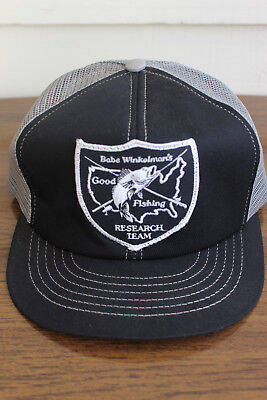 Vtg Babe Winkelmans Good Fishing Research Team 80's 90's Snapback Trucker HAT