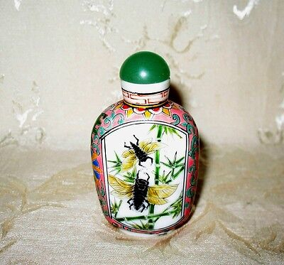 Outstanding Late 19th Century Early 20th Antique Hand Painted Glass Snuff Bottle