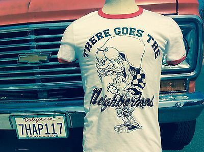 THERE GOES THE NEIGHBORHOOD RINGER T SHIRT biker punk metal patch jacket badge