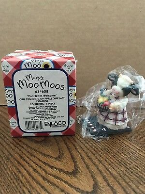 "Enesco Mary's Moo Moos ""For-Heifer Welcome"" Girl Standing On Welcome Mat  634638"