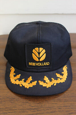 Vintage New Holland Gold Leaves Snapback Mesh Trucker Hat Cap K-Products USA 5456cf9eb69e