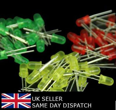 5mm 3mm LED Green Yellow Red Diffused High Brightness Diode 10-100 pcs UK