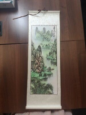 Medium size Chinese hanging scroll painting mountains and trees
