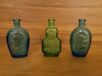 Lot of 3 Vintage Wheaton Bottles. The kings patent, Thomas Jefferson,  George Wa