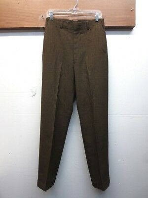 EUC Vintage 1960s Penneys Towncraft Penn Prest Wool Pants Brown Cuffed 30 X 31