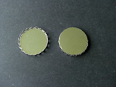 10 SILVER TONE COPPER ROUND SINGLE EDGE CABOCHON FRAME SETTING BROOCH Fit 25mm
