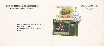 Sharjah 1966 Post Office Cover, Currency Change Overprints Franking