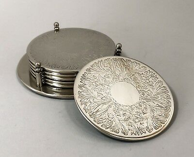 Vintage silver plate set 6 coasters on stand engraved floral barware drinks mats