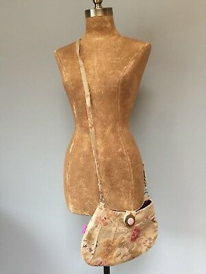 "Hand Made Recycled Floral Linen Cross Body Hand Bag 12"" X 12"" X 6"""